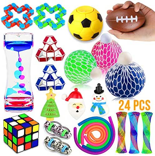 Fidget Toys Set, 24 Pack Sensory Tools Bundle for Stress Relief Hand Toys for Kids and Adults, Stretchy String/Liquid Motion/Cube/Twist Puzzle/Mesh Marble - Perfect for ADHD ADD Anxiety Autism
