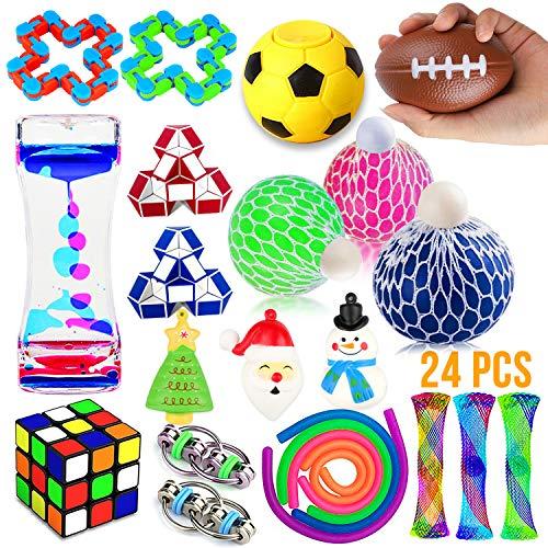 Fidget Toys Set, 24 Pack Sensory Tools Bundle for Stress Relief Hand -