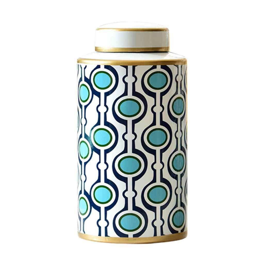 乾燥した花のためのふた27.5cmの現代装飾的な花瓶、居間のテーブルのセンターピースまたは結婚祝いのための家の装飾、白と青の2サイズのセラミック花瓶収納瓶 (Size : L) B07SJRGM5K  Large