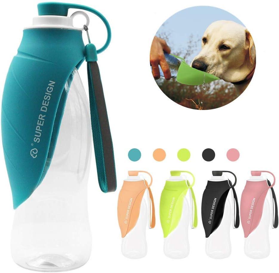 Petsoigné Botella de Agua para Perros Portátil Botella para Perros de Silicona para Salir (Azul)