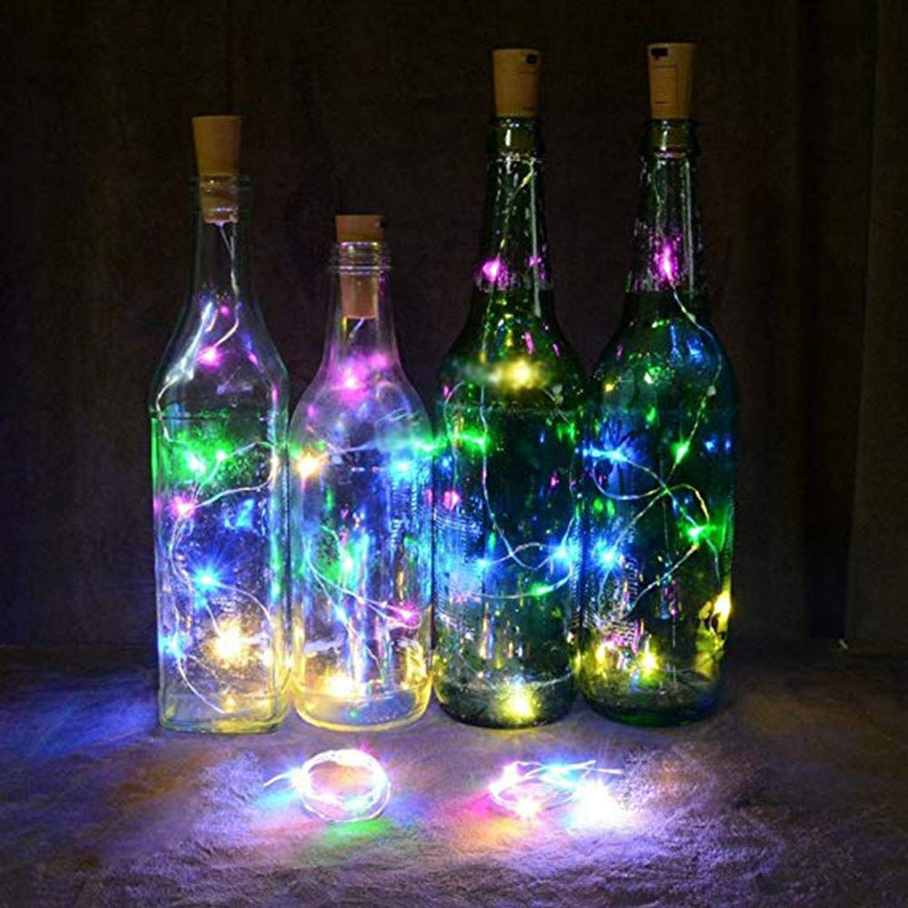 Transer- Solar Power Wine Bottle Cork Lights - 1 Pcs 1m 10 LED Copper Wire Lights String Starry Lights for Bottle DIY, Party, Decor, Christmas, Halloween, Wedding or Mood Lights (Multicolor)
