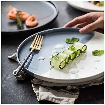 SMC Platos Cerámica Sencilla Personalidad creativa Pasta Filete Plato  Nordic Color sólido Comida occidental Plato de 3bbf1b9db89