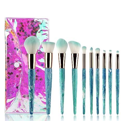 Moremili Set de Brochas de Maquillaje Profesional 10pcs Kit Pinceles Maquillaje Ojos Brochas Cosméticas Mejor Regalo de Navidad