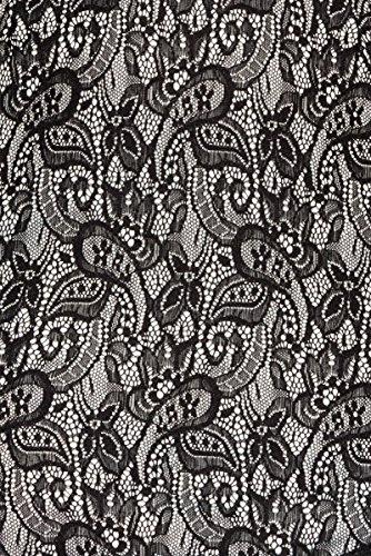 Dunkles Wickelkleid aus Spitze mit V Ausschnitt Paisley Muster und Gürtel asymmetrisch