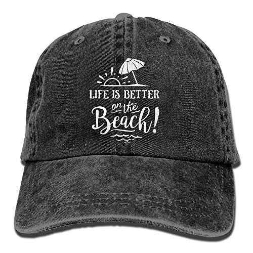 Life Is Better On The Beach-1 Vintage Jeans Baseball Cap For Men and Women (Womens Charlie Hat Adjustable)