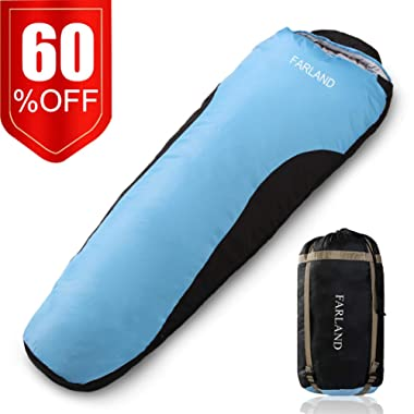 FARLAND Camping Sleeping Bag Adult for 0 Degrees to 20 Degrees Fahrenheit 4 Season EnvelopeMummy Outdoor Lightweight Portable Waterproof Perfect Traveling,Hiking Activities