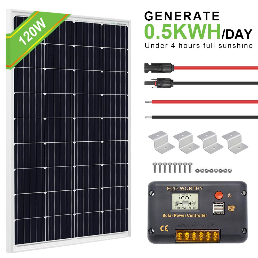ECO-WORTHY 120 Watt Solar Panel Off-Grid RV Boat Kit:120 Watt Solar Panel+20A LCD Display Charge Controller +Solar Cable +Z Brackets by ECO-WORTHY