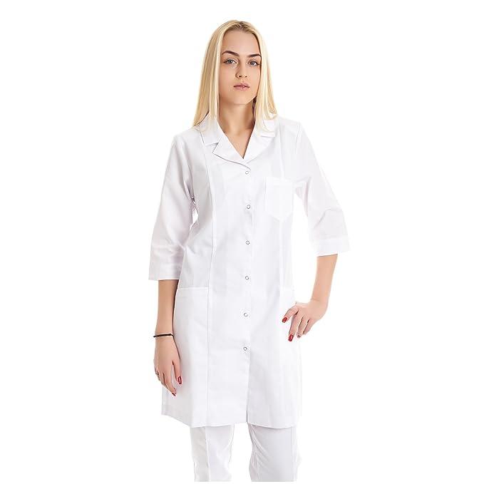 Vest Albus Batas de Laboratorio para Mujer Medida Sanitario (XS)