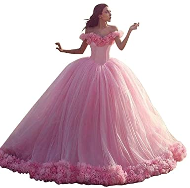Yahmet Gorgoues Quinceanera Dresses Pink Wedding Gown Beach Prom Dresses with Rosette US 2