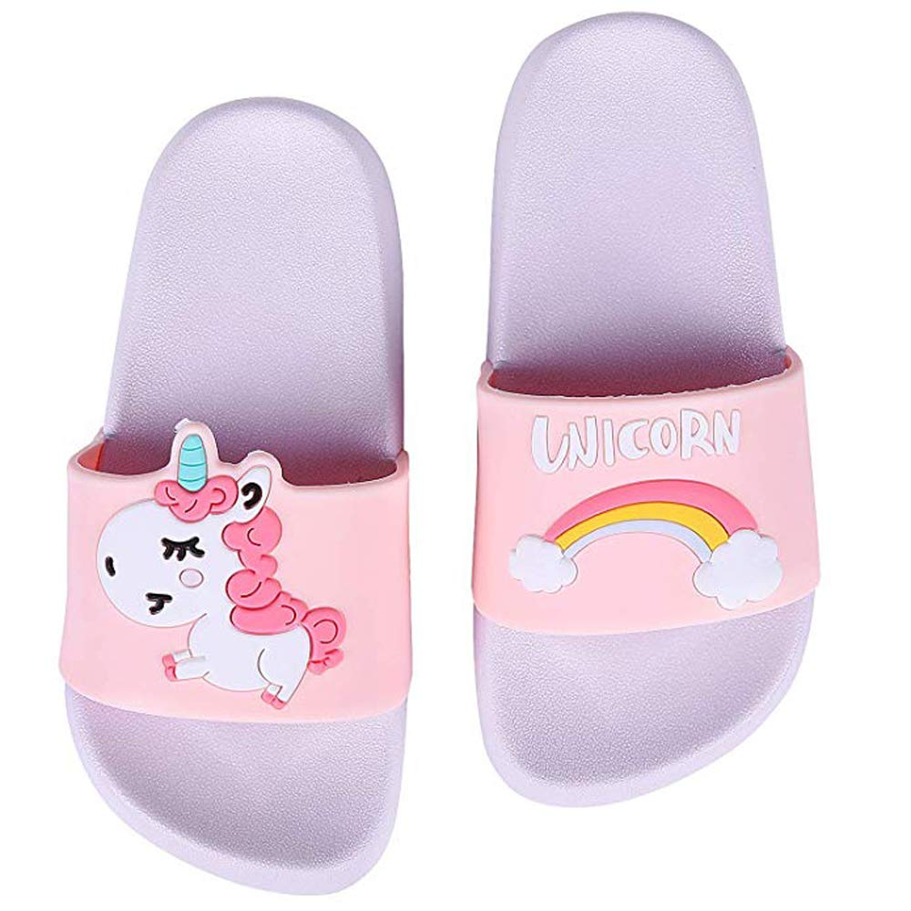Toddler Little Kids Unicorn Shower Pool Slide Sandals Non-Slip Summer Slippers Lightweight Beach Pool Water Shoes for Girls and Boys (Toddler/Little Kids) (7.1inth 18cm US Little Kid, Purple)