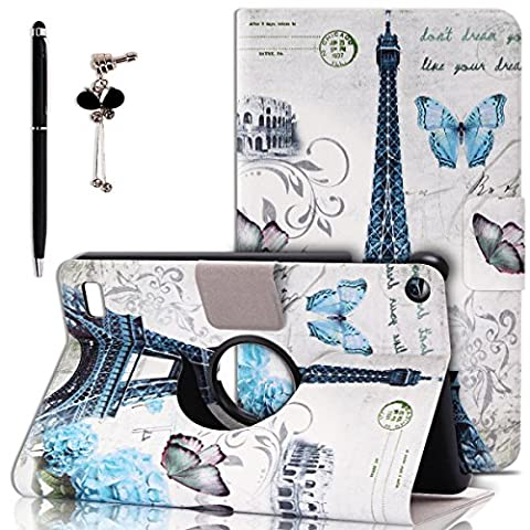 Kindle Fire 7 (2015) Case, Spiritsun [360 Rotating] [Slim Fit] [Stand] Smart Case Cover for Kindle Fire 7 with Auto Sleep / Wake Feature (Butterfly and Eiffel (Kindle Case Designer)