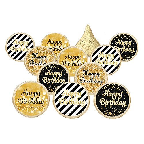 Happy Birthday Party Favor Stickers - Black and Gold (Set of (Black And Gold Party Favors)