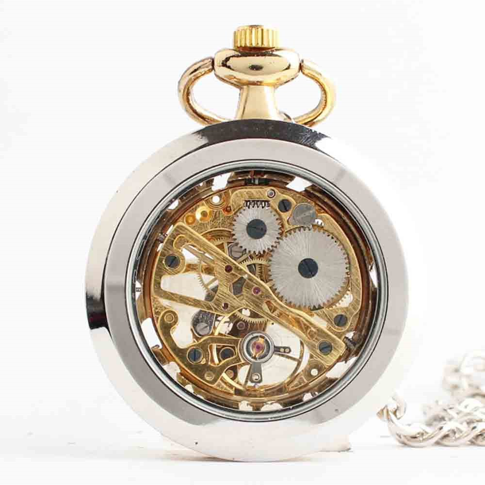 Zxcvlina Classic Smooth Exquisite Unisex Pocket Watch Transparent Women Men Golden Mechanical Pocket Watch with Chain Suitable for Gift Giving by Zxcvlina (Image #3)