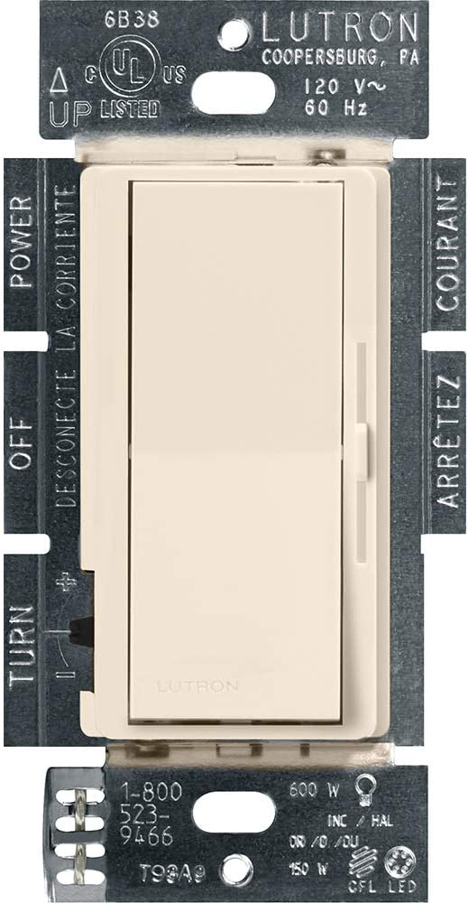 Lutron Diva LED+ Dimmer for Dimmable LED, Halogen and Incandescent Bulbs | Single-Pole or 3-Way | DVCL-153P-LA | Light Almond
