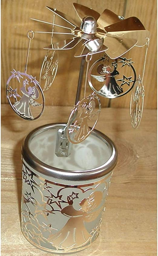 Hellmann GIOSTRINA karusell Bicchiere Vetro Angelo Custode Argento