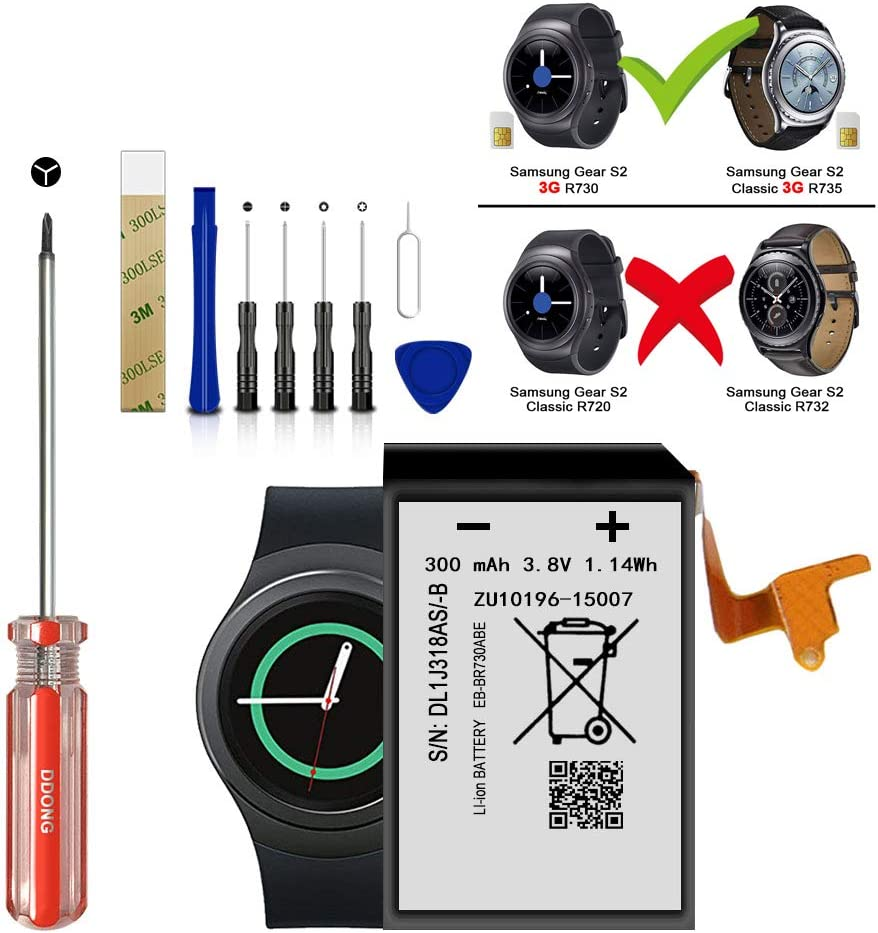 for Verizon Samsung Galaxy Gear S2 Classic SM-R735V Replacement Battery for EB-BR730ABE Battery with Adhesive Tape Tool Repair Kit