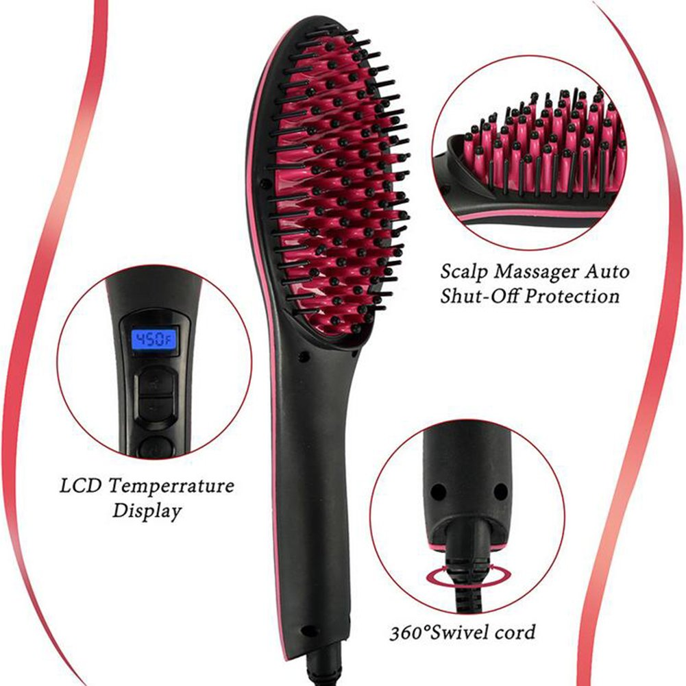 Hair Straightener Brush Electric Ceramic Heating Straightener Comb LCD Display Adjustable Temperature Anti-Scalding Fast And Easy Straight For Travel/Home Use HMYH by Hair Straightener (Image #3)