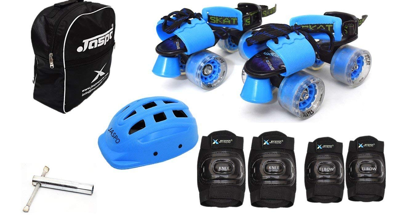 Jaspo Blue Derby Intact Adjustable Senior Roller Skates Combo Suitable for Age Group 6 to 14 Years
