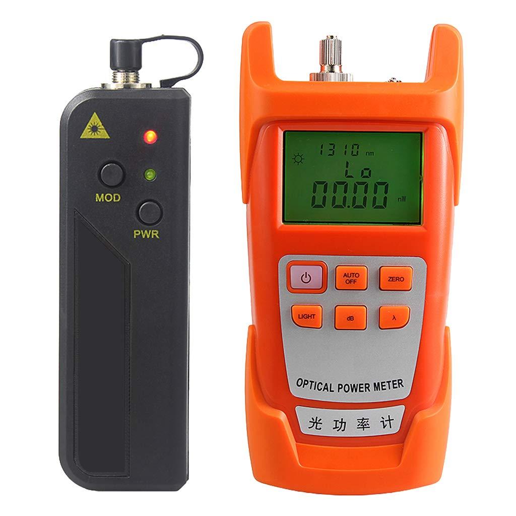 Prettyia A Set Portable Optical Fiber Power Meter Tester Measure -70dBm~+10dBm + 10mW 10KM Visual Fault Locator Fiber Tester Detector Meter Pen (VFL)