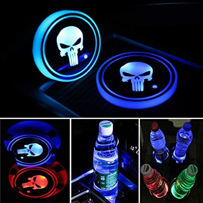 DIY1234 2 Pack LED Cup Holder Lights, Car Coaster with 7 Colors Changing USB Charging Mat, Luminescent Cup Pad Interior Atmosphere Lamp Decoration Light: Automotive