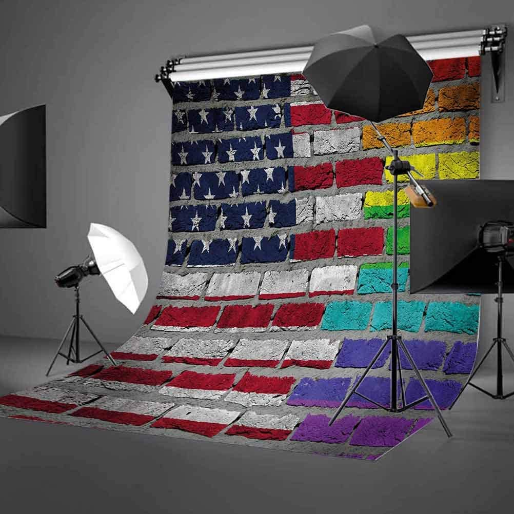 Pride 6.5x10 FT Photo Backdrops,Grunge Dark Brick Wall Background with American and Rainbow Flag Painted Together Background for Baby Birthday Party Wedding Vinyl Studio Props Photography Multicolor