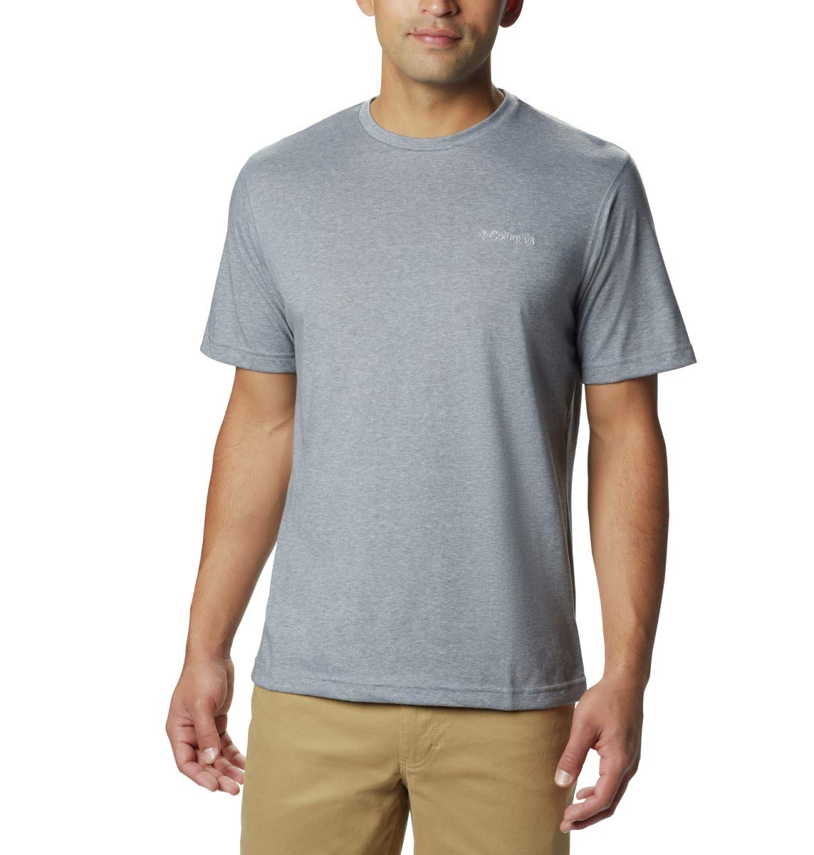 Columbia Men's Thistletown Park Crew Short Sleeve Tee, Small - Grey Ash Heather