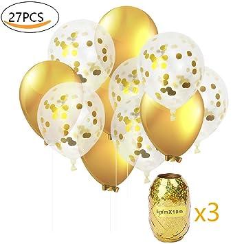 Globos de Fiesta MMTX Set Globos de Lunares de Confeti Dorado de 12 Pulgadas Paquete de