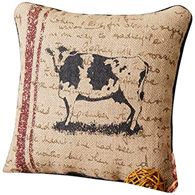 Your Hearts Delight Cow Farm Life Pillow, 10-Inch