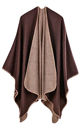 4dd4c55883c95 PinkWind Women s Autumn Poncho Cashmere Shawl Wrap Cardigan Coat Coffee One  Size