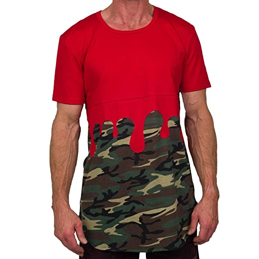 a46b19ab1ee3 T Shirt for Men Fashion Red Men's Camouflage Gradient Casual Fashion Lapel  Short Sleeve Shirt 3D