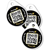 Dynotag Web Enabled QR Code Smart Round Laminated Synthetic Tag. 3 unique tags. Property Tag, Pet Tag - Multiple Uses