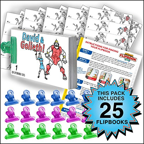 Fliptomania David & Goliath Flipbook Animation Activity Pack - 25 Sets DIY Flip -