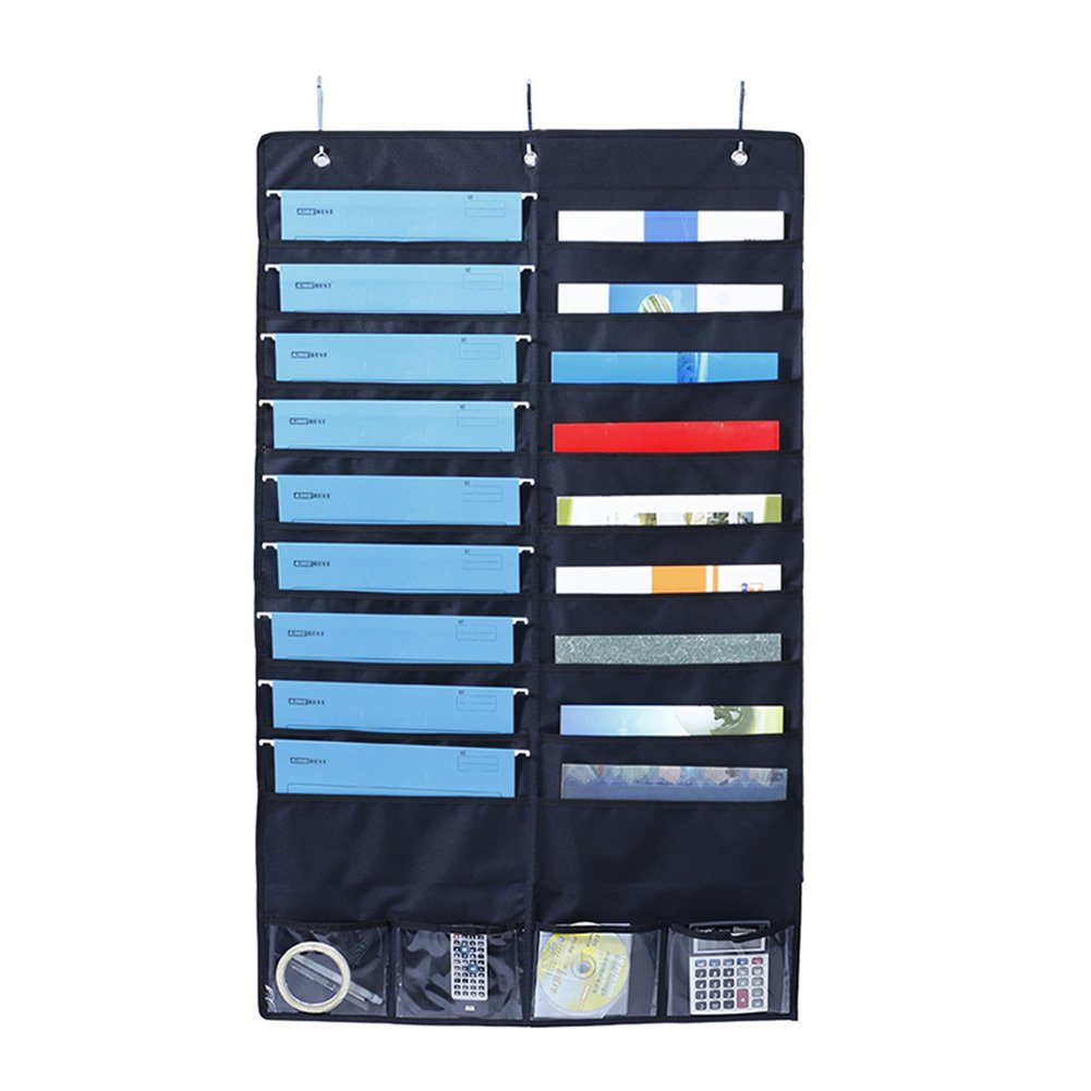 Là Vestmon Wall Door Closet Hanging Double-Layer Storage Bag File Organizer for Gift Bags, Bows, Ribbon and More