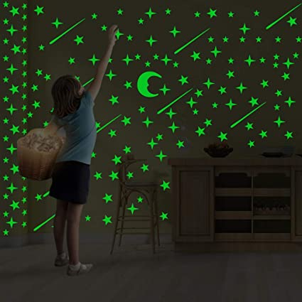 21Pcs Glow in The Dark Stars Wall Stickers for Bedroom Childrens Room Decor Glowing Moons