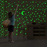 Glow in The Dark Stars & Moon Wall Stickers for Kids Bedroom Decoration,Perfect for Girls Boys Bedding Room or Party Festival Birthday Gift