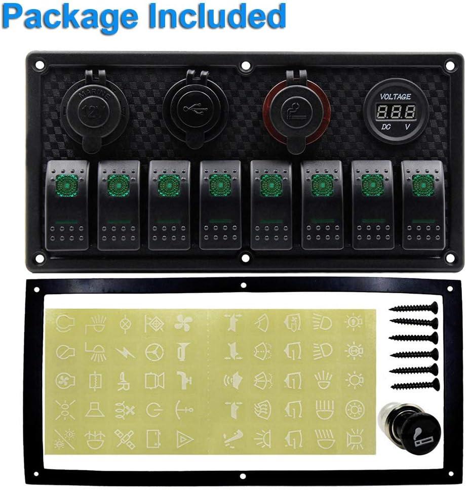 barco 4 en 1 CT-CARID Panel de 8 interruptores caravana multifunci/ón veh/ículos cami/ón panel de interruptores para coche
