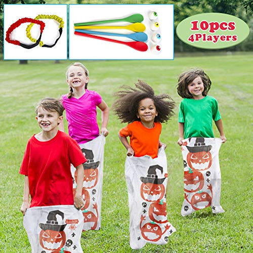 Fun Family Halloween Activities (Twister.CK Halloween Potato Sack Race Bags, Eyeball and Spoon Race Games,Bags Lawn Game, 3 Legged Race Bands for All Ages Kids and Family,Halloween Outdoor Fun Games,Party Favor Supplies Activities,Classroom Activities)