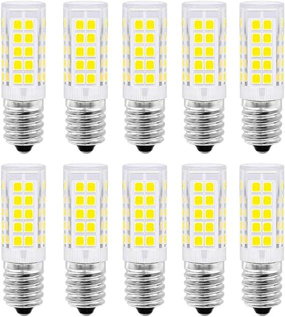 E14 Bombilla LED, 5 vatios equivalente a 50 vatios, blanco frío 6000K para campana extractora, 500 lúmenes, AC220-230V, no regulable, tornillo Edison pequeño 2835SMD lámpara 10 paquetes: Amazon.es: Iluminación