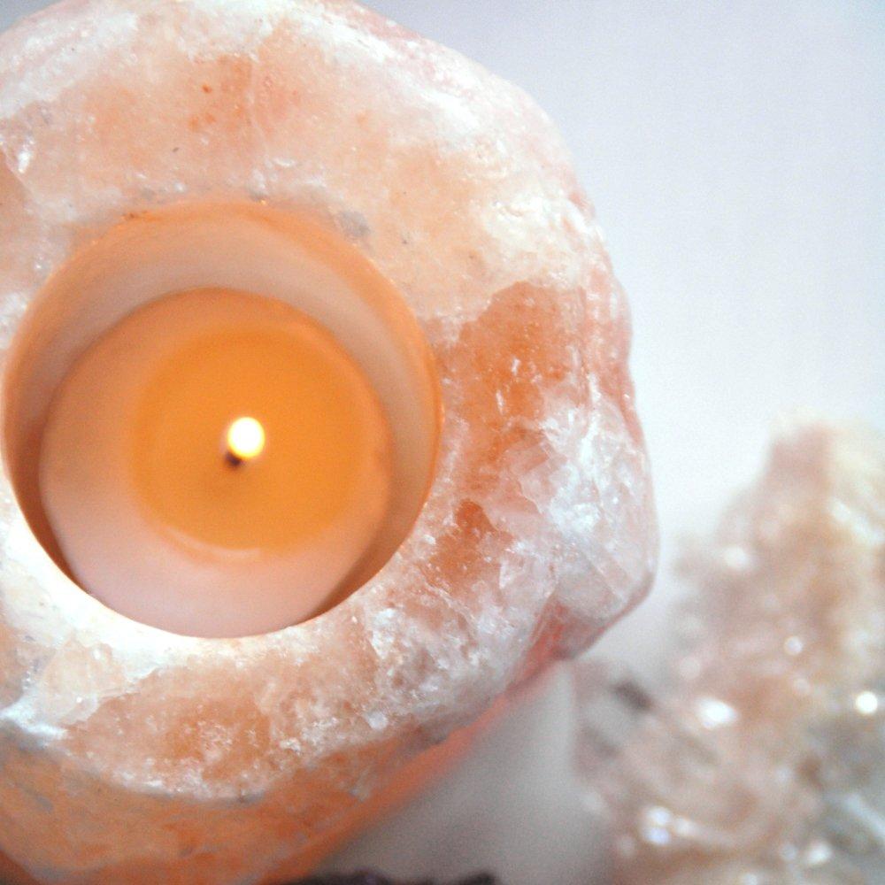 Betus [Natural Crystal] Himalayan Salt Candle Holder - Hand Carved Salt Rock Tealight Holder - Pack of 2