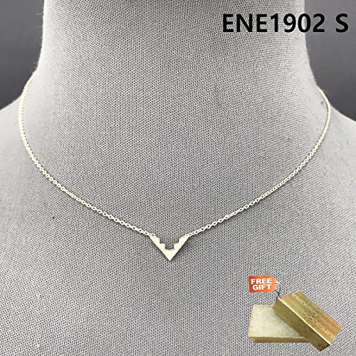 (Simple Silver Finished Chain Mini Triangle V Shape Pendant Necklace ENE1902 S Set For Women + Gold Cotton Filled Gift Box for Free)