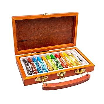 STOBOK Crayón de 12 Colores con Estuche de Madera portátil lápices ...
