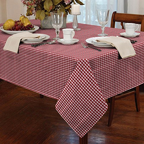tablecloth checkered plaid dinner summer dining linen picnic blanket table cover gingham check buffalo bohemian square (65x65, red and white petite) - Mini Check Tablecloth