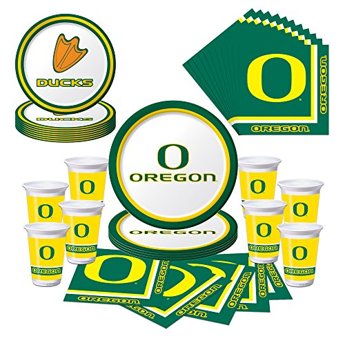 University of Oregon Ducks Party Pack with Plates, Napkins, Cups (Serves 8)