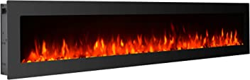 """GMHome 60"""" Electric Fireplace Wall Mounted Freestanding Heater Crystal Stone Flame Effect 9 Changeable Color Fireplace, w/Remote, 1500/750W, Glass Panel"""
