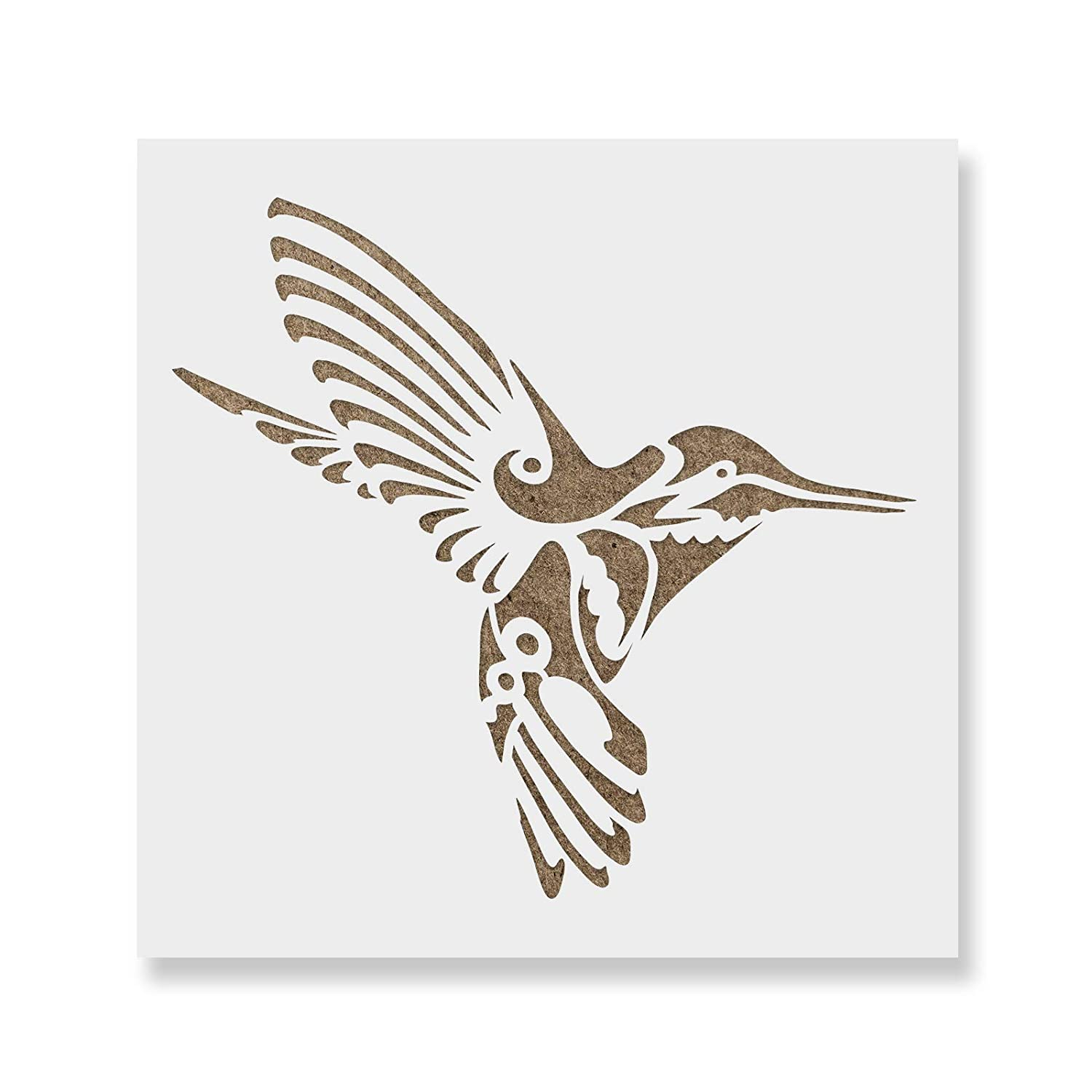 Hummingbird Deco Stencil Template for Walls and Crafts - Reusable Stencils for Painting in Small & Large Sizes Stencil Revolution