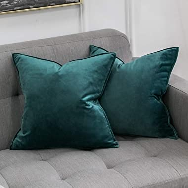 MIULEE Pack of 2 Decorative Velvet Throw Pillow Cover Soft Green Pillow Cover Soild Square Cushion Case for Sofa Bedroom Car 18x 18 Inch 45x 45cm