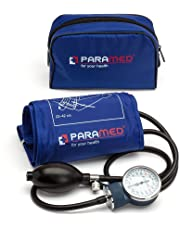 Professional Manual Blood Pressure Cuff – Medical Aneroid Sphygmomanometer with Carrying Case by Paramed – Lifetime Calibration for Accurate Readings Suitable – for Adult, Nurse (Dark Blue)