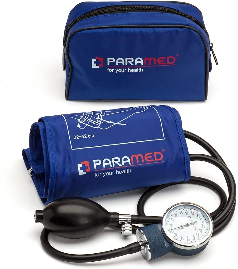 Professional Manual Blood Pressure Cuff – Aneroid Sphygmomanometer with Durable Carrying Case by Paramed – Lifetime Calibration for Accurate Readings – Dark Blue