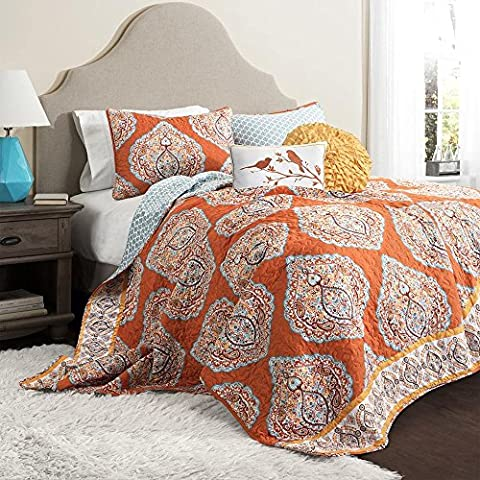 5 Piece Orange Damask King Size Quilt Set, Beautiful Grey Geomectrical Motif Floral Boho Chic Bohemian, Gray Flowers Geomectric Cabbin Cottage Beach House, Reversible Bedding, - Cottage Flower Bedding
