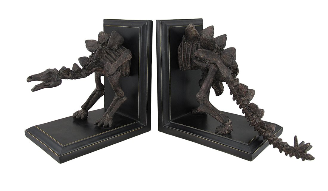 Resin Decorative Bookends Stegosaurus Skeleton Head And Tail Bookends Set Of 2 9 X 9.5 X 6 Inches Brown Model # 7546 by Zeckos